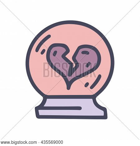 Crystal Ball For Love Spell Color Vector Doodle Simple Icon