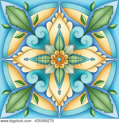 Detailed Traditional Tiles.valencian Tiles. Majolica Ornament. Floral Ornament. Portuguese Tile. Anc