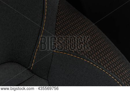 High Angle View Of Modern Car Fabric Seats. Close-up Car Seat Texture And Interior Details. Detailed
