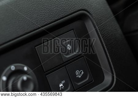 Heated Steering Wheel Switch. Steering Wheel Heating Control Panel Close Up View.
