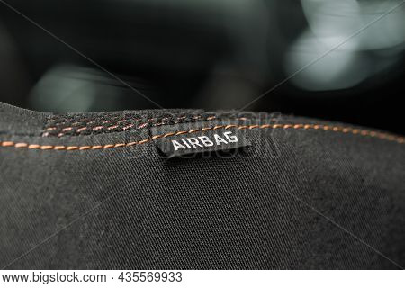 Close Up View Of Airbag Label On The Side Of A Car Seat. Airbag Safety System Symbol On The Car Seat