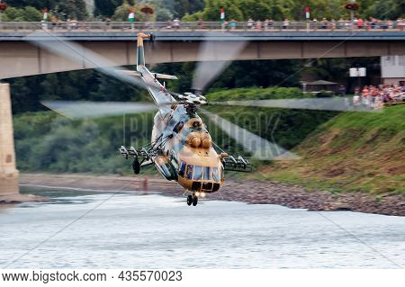 Szolnok, Hungary - August 20, 2018: Military Helicopter At Air Base. Air Force Flight Operation. Avi