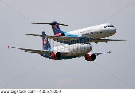 Sliac, Slovakia - September 2, 2018: Military Transport Plane At Air Base. Air Force Flight Operatio