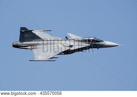 Varazdin, Croatia - July 23, 2016: Military Fighter Jet Plane At Air Base. Air Force Flight Operatio