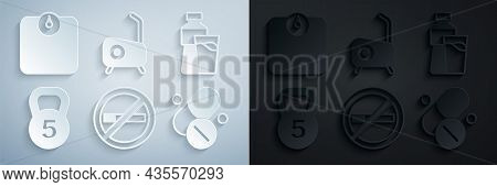 Set No Smoking, Bottle Of Water With Glass, Weight, Vitamin Pill, Stationary Bicycle And Bathroom Sc