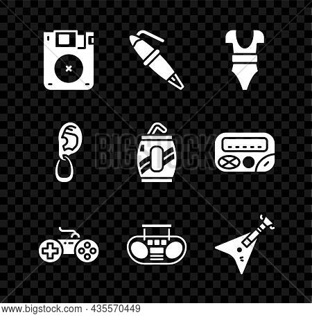 Set Floppy Disk, Fountain Pen Nib, Swimsuit, Gamepad, Home Stereo With Two Speakers, Electric Bass G