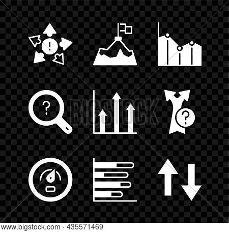 Set Many Ways Directional Arrow, Mountains With Flag, Pie Chart Infographic, Digital Speed Meter, Ar