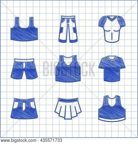 Set Undershirt, Skirt, T-shirt, Short Or Pants, And Icon. Vector