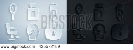 Set Baldness, Electric Razor Blade, Barbershop Chair, Broken Follicle, Aftershave And Hand Mirror Ic