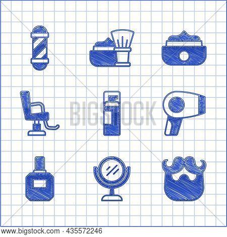 Set Shaving Gel Foam, Hand Mirror, Mustache Beard, Hair Dryer, Aftershave, Barbershop Chair, Gel Wax