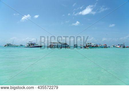 Isla Mujeres, Cancun, Mexico - September 13, 2021: Beautiful Caribbean Beach Playa Norte Or North Be