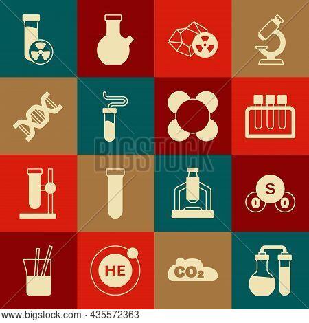 Set Test Tube, Sulfur Dioxide So2, Radioactive, Dna Symbol, With Toxic Liquid And Molecule Icon. Vec