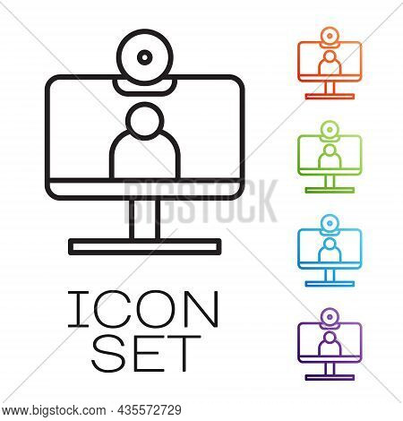 Black Line Video Chat Conference Icon Isolated On White Background. Computer With Video Chat Interfa