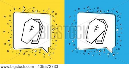 Set Line Coffin With Christian Cross Icon Isolated On Yellow And Blue Background. Happy Halloween Pa