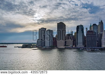 Aerial View The Along Manhattan Downtown Skyscraper Heights In Nyc Beautiful American