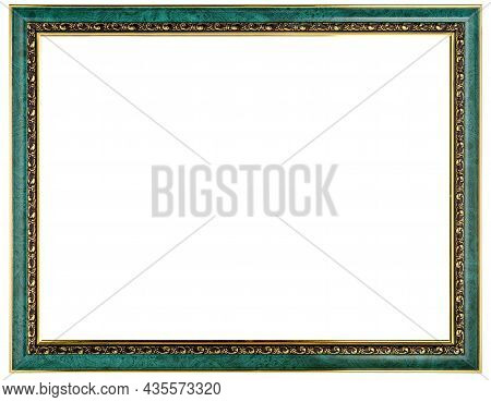 Golden Green Mockup Canvas Frame Isolated On White Background