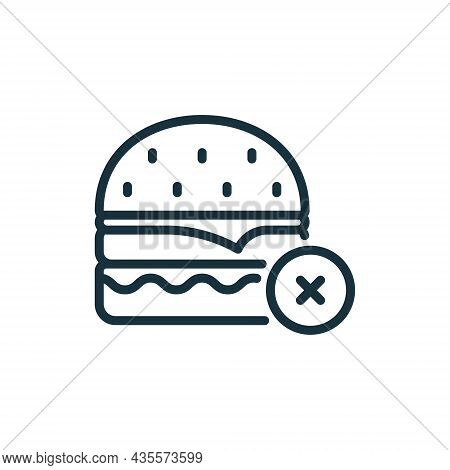 Concept Of Ban Burger With Stop Sign Outline Icon. Unhealthy Forbidden Food Line Icon. Prohibition O