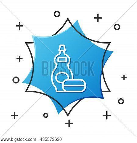 White Line Dishwashing Liquid Bottle Icon Isolated On White Background. Liquid Detergent For Washing