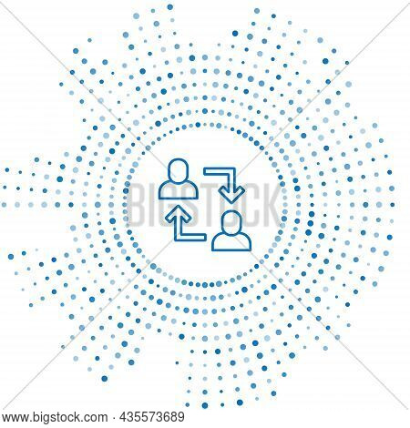 Blue Line Project Team Base Icon Isolated On White Background. Business Analysis And Planning, Consu
