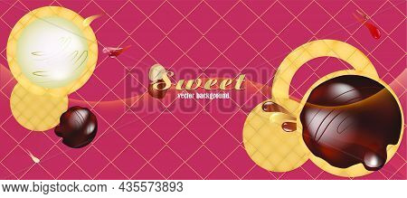 Vector Illustration With Chocolate Chip Cookies. Splashes Of Chocolate On An Appetizing Backdrop For