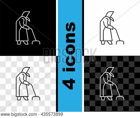 Set Line Grandmother Icon Isolated On Black And White, Transparent Background. Vector