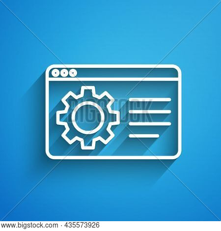 White Line Browser Setting Icon Isolated On Blue Background. Adjusting, Service, Maintenance, Repair