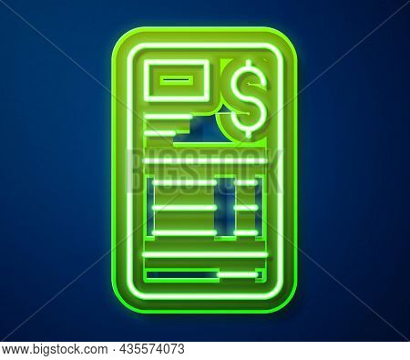 Glowing Neon Line Paper Or Financial Check Icon Isolated On Blue Background. Paper Print Check, Shop