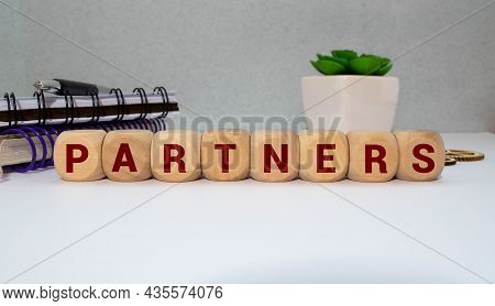 Partner Word Made With Building Wooden Blocks On Light Background