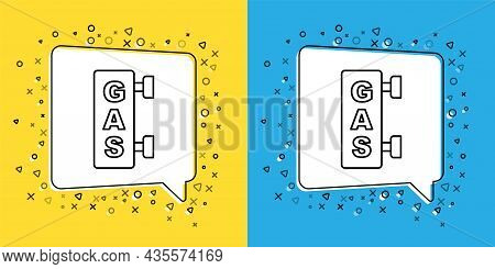 Set Line Gas Filling Station Icon Isolated On Yellow And Blue Background. Transport Related Service