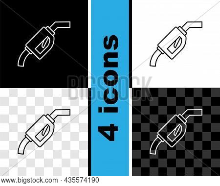 Set Line Gasoline Pump Nozzle Icon Isolated On Black And White, Transparent Background. Fuel Pump Pe