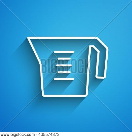 White Line Measuring Cup To Measure Dry And Liquid Food Icon Isolated On Blue Background. Plastic Gr