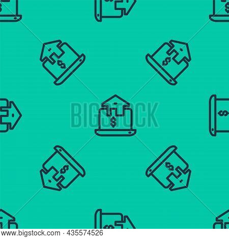 Blue Line Online Real Estate House In Browser Icon Isolated Seamless Pattern On Green Background. Ho