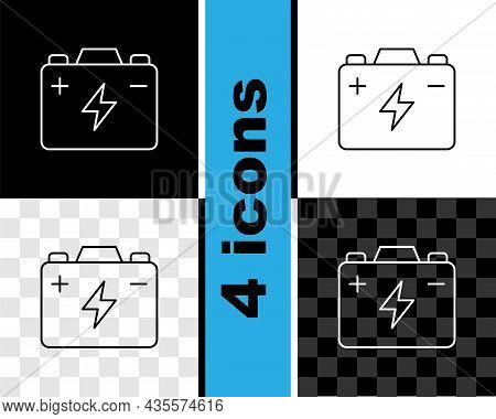 Set Line Car Battery Icon Isolated On Black And White, Transparent Background. Accumulator Battery E