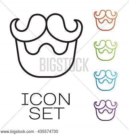Black Line Mustache And Beard Icon Isolated On White Background. Barbershop Symbol. Facial Hair Styl