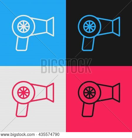 Pop Art Line Hair Dryer Icon Isolated On Color Background. Hairdryer Sign. Hair Drying Symbol. Blowi
