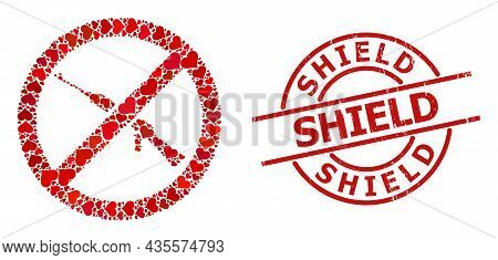 Rubber Shield Stamp Seal, And Red Love Heart Mosaic For Forbid Kalashnikov Weapon. Red Round Stamp S