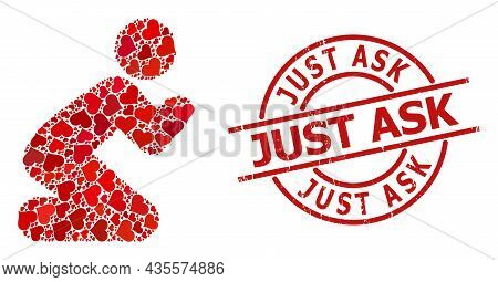Textured Just Ask Stamp Seal, And Red Love Heart Mosaic For Praying Man. Red Round Stamp Seal Has Ju