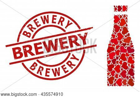 Textured Brewery Stamp, And Red Love Heart Collage For Beer Bottle. Red Round Stamp Includes Brewery
