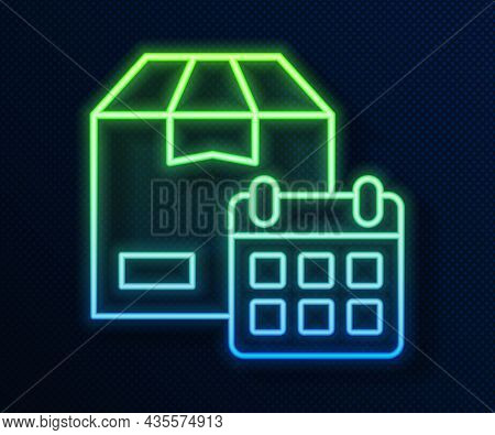 Glowing Neon Line Carton Cardboard Box And Fast Time Delivery Icon Isolated On Blue Background. Box,