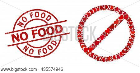 Rubber No Food Stamp Seal, And Red Love Heart Collage For Forbid. Red Round Stamp Seal Includes No F