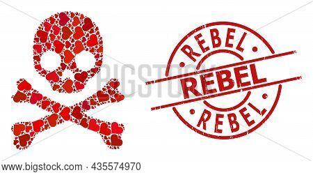 Rubber Rebel Stamp Seal, And Red Love Heart Collage For Death Skull. Red Round Stamp Seal Includes R