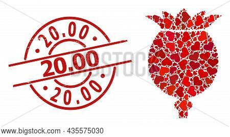 Rubber 20.00 Seal, And Red Love Heart Mosaic For Poppy Head. Red Round Seal Contains 20.00 Caption I