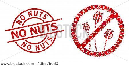 Rubber No Nuts Stamp Seal, And Red Love Heart Collage For Stop Poppy Plants. Red Round Stamp Include
