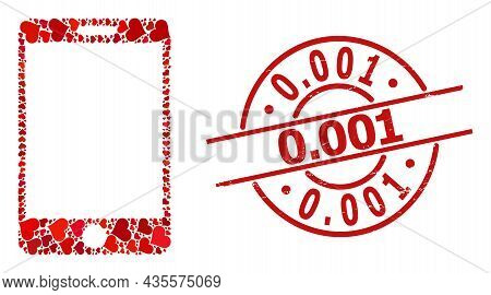 Distress 0.001 Stamp Seal, And Red Love Heart Collage For Smartphone. Red Round Stamp Has 0.001 Capt