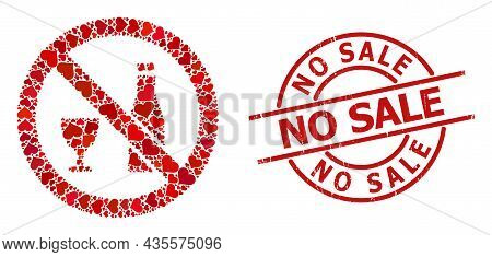 Rubber No Sale Stamp Seal, And Red Love Heart Pattern For Forbid Alcohol. Red Round Stamp Seal Has N