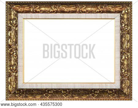 Golden Brown Mockup Canvas Frame Isolated On White Background