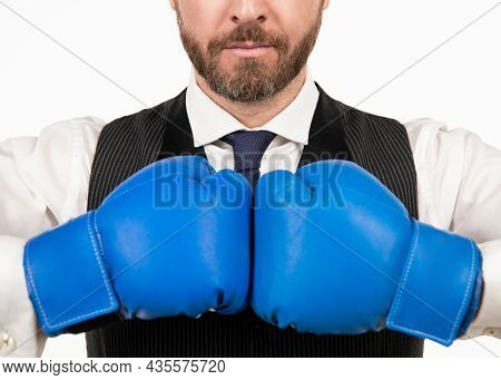 Man Ready For Corporate Battle. Business Knockout. Boss Show Power And Authority.