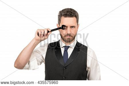 Successful Man In Businesslike Suit. Entrepreneur With Wrench Isolated On White.