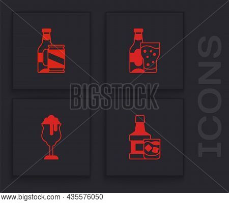 Set Whiskey Bottle And Glass, Beer Beer Can, And Glass Of Icon. Vector