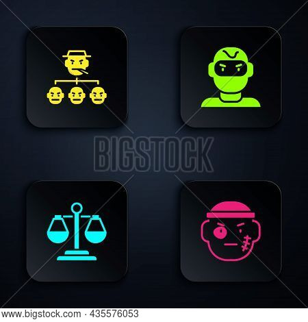Set Bandit, Mafia, Scales Of Justice And Thief Mask. Black Square Button. Vector
